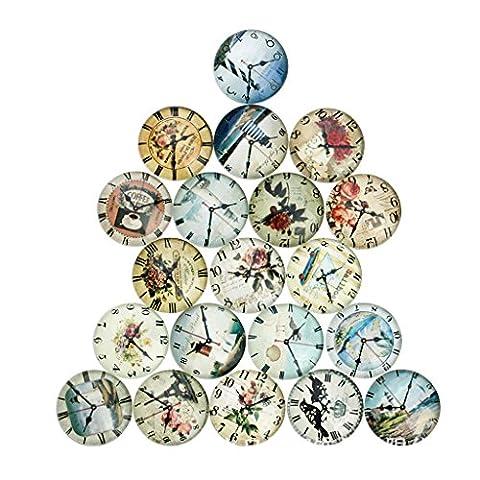 MagiDeal 20pcs Uhr Glas Flatback Glascabochons Cabochons Scrapbooking Kuppel Für Handwerk - Farbe 5, (März Glas)