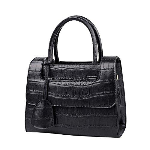 Mena UK Pelle sintetica femminile Alta capacità Barra morbida Soft color Grande borsa da viaggio e borsa a tracolla ( Colore : Rosa , dimensioni : 23.5cm*19cm*11cm ) Nero