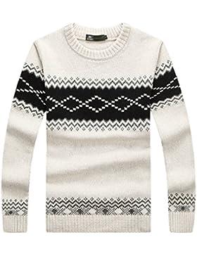 WTUS Crew Knit,Suéter de Moda Nuevo Estilo para Hombre,Azul/Blanco