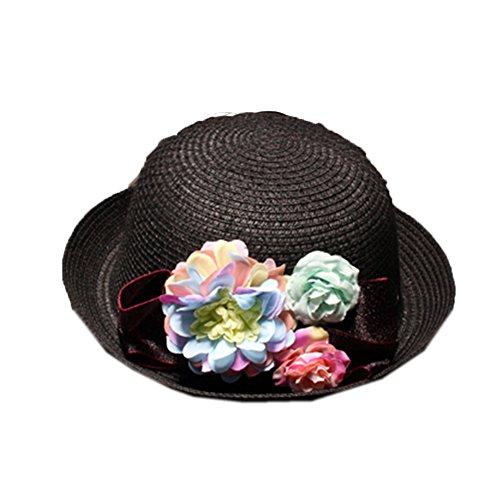 Lawevan® Straw Femmes Dome Fleurs Dentelle Bowler Hats Noir