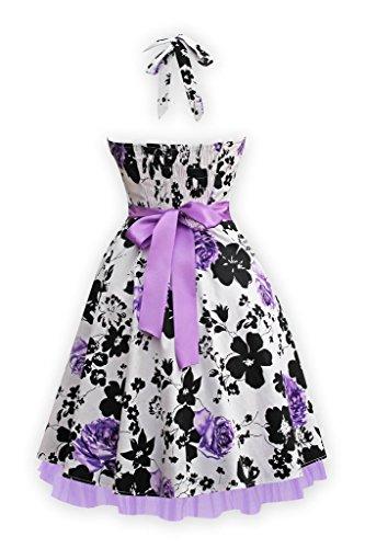 BOMOVO Damen 50s Retro vintage Rockabilly kleid Hepburn Stil Rundausschnitt Partykleid  Cocktailkleid Violett2