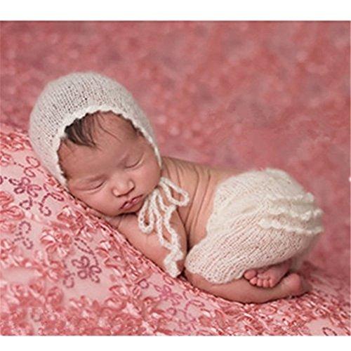 binlunnu neonato fotografia puntelli Boy Girl Crochet Costume Abbigliamento Cappello da uomo bianco White