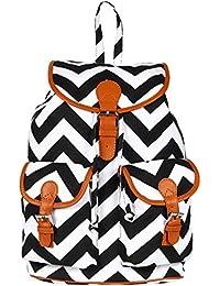 Ayeshu Black Zig-Zag Printed Backpack