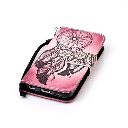 iPhone 5C Hülle, iPhone 5C Hülle Ledertasche Brieftasche im BookStyle, SainCat PU Leder Wallet Case Folio Schutzhülle Muster Hülle Bumper Handytasche Skin Schale Soft Backcover Handy Tasche Flip Cover Rotbraun Campanula