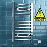 iBathUK | 650 x 400 Thermostatic Electric Heated Towel Rail Bathroom Radiator - All Sizes
