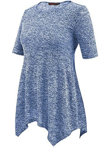 VESSOS Damen Tunika Top Kurzarm Shirt 4 Farben zur Wahl Blau