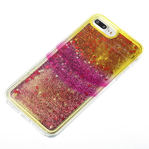 "iPhone 7 PLUS 5.5"" Case, iPhone 7 Plus Gliter Case, Edaroo [Rainbow Liquid Glitter] [Colorful Quicksand] Cute Creative Flowing Liquid Floating Glitter Bling Rubber Case for Apple iPhone 7 Plus (5.5 in Stripe #5"