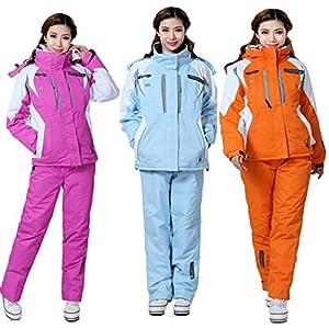 Qenci Damen Snowboardanzug Wasserdichte Winddichte Skianzüge Schneeanzug Schneesuit Hoodie Schneejacke Latz-Skihose Rosarot Blau Orange Gr. EU 34-46