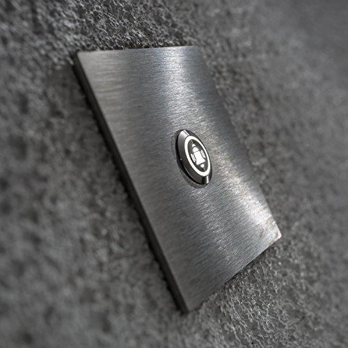 Moderne Edelstahl LED-Türklingel grob geschliffen V2A Quadratisch 90x90x3mm weiß LED Beleuchtet Symbol Glocke Klingelsymbol Klingelplatte Metzler-Trade