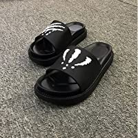 fankou Summer Men Slippers Trend Inside and Outside of The Home Bathroom Non-Slip Cool Slippers Summer,38, [Thick- Black and White
