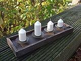 Schöner Kerzenständer, Holz m. Eisentellern, Advent, 53 cm, Landhaus