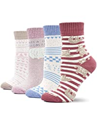 Womens Thick Winter Thermal Socks Cotton Crew Novelty Socks, 4 Pairs