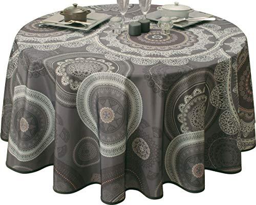 Nappe anti-taches Mandala Gris - taille : Ronde diamètre 180 cm