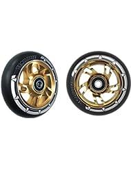 Par de Pro Swirl patinete ruedas 100mm núcleo de aleación de color verde, piel sintética de color negro, Gold Core