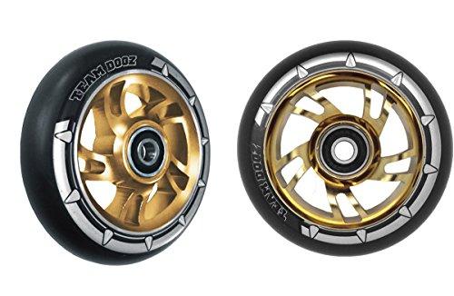 Paar pro Swirl Scooter Rollen 100mm–grün Legierung Core, Schwarz PU, Gold Core (Lucky Scooter Gold)