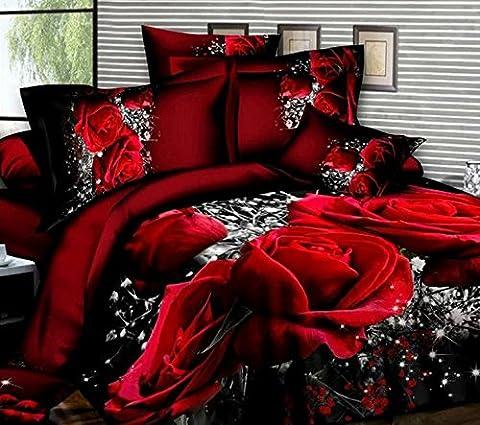 Luxury 3d oil painting red rose floral Sets de housses de couettes Duvet Cover set 4pcs sheet pillowcases bedding set queen size