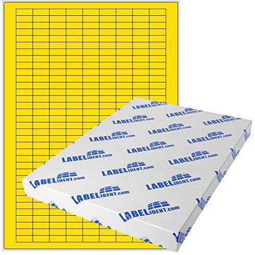 Labelident Etiketten - 20 x 8 mm, rechteckig - Gewebe (Nylon) gelb, matt, permanent haftend, 3150 Aufkleber, DIN A4 Bogen, 10 Blatt -