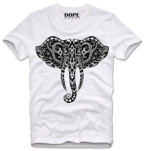 DOPEHOUSE T-Shirt Camiseta ELEFANT ELEPHANT HEAD INDIA GOA GURU MEDITATION CHAKRA GANESH,...