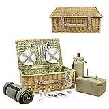 HappyPicnic Set con cestino da picnic in vimini per 4persone, sacca termica per vino, borsa termica, coperta e stoviglie in poliuretano rosso