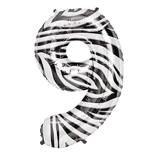Northstar Folienballon 00875Nummer 9-zebra, 86,4cm farbenreiche