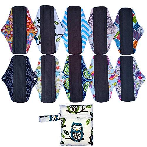10pcs 10inch Charcoal gamuza de bambú reutilizable lavable menstrual compresa almohadillas + 1Wet Bolsa