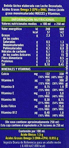 Puleva Leche Omega 3 con Nueces - Pack de 6 x 1 l - Total: 6 l