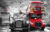Fototapete BUS + TAXI 175x115 London Westminster rot coloriertes SW-Bild England