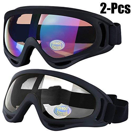 59da899bf7 Gafas a prueba de viento, Outgeek 2 Pack Deportes al aire libre UV 400  Protección