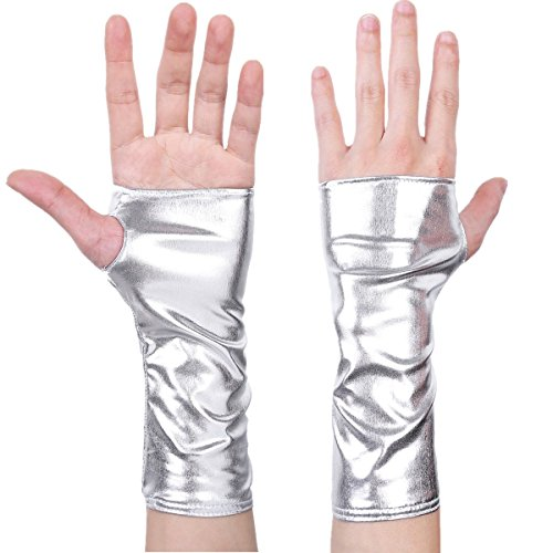 Freebily Damen Handschuhe aus Lackleder Wetlook Mini Metallic Optik Halb Fingerlose Handschuhe für Party Kostüm Silber One Size