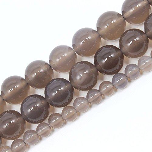 Jartc naturale rotondo grigio agata perline per gioielli fai da te bracciale collana 38,1cm, Grey, 12 mm