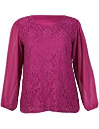 Womens Chiffon Sheer Lace Mesh Full Sleeve Ladies Round Neck Stretch Lined Floral Blouse Top Plus Size