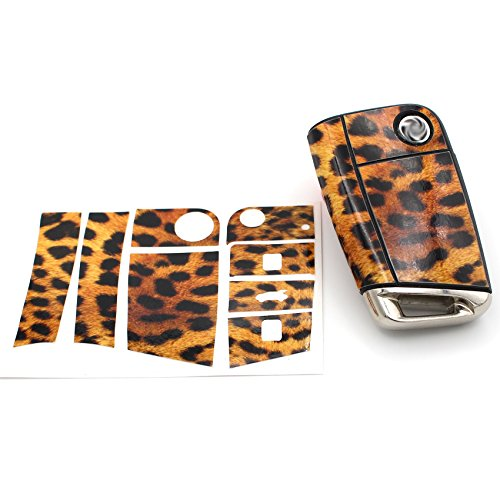 Leopard-taste (Schlüssel Folie VB für 3 Tasten Auto Schlüssel Folien Cover - Finest-Folia Etui Schutzhülle Schlüsselhülle (Leopard))