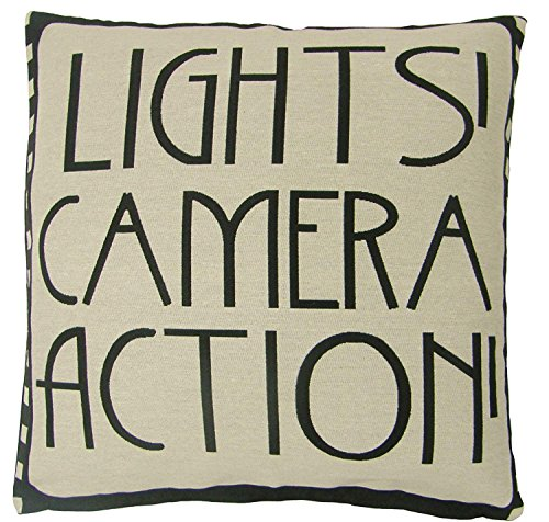 Lights Camera Action Film Reel Movie Black Cotton Blend Cushion Cover Pillow CASE SHAM 16x16 Inch/40cmx40cm (Light Reel Christmas)