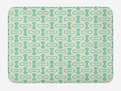 MSGDF Mint Bath Mat, Abstract Rounded Shapes Vertical and Horizontal Shabby Simplistic Retro, Plush Bathroom Decor Mat with Non Slip Backing, 23.6 W X 15.7 W Inches, Pale and Jade Green Teal