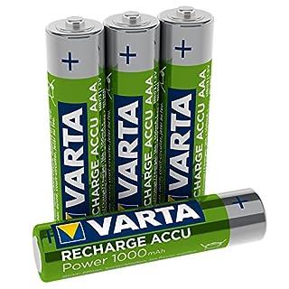 Varta Rechargeable Accu Ready2Use vorgeladener AAA Micro Ni-Mh Akku 4er Pack 1000 mAh - wiederaufladbar ohne Memory-Effekt - sofort einsatzbereit (Design kann abweichen)