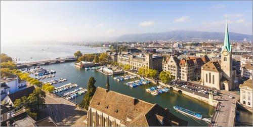 Leinwandbild 80 x 40 cm: Skyline Zürich von Dieterich Fotografie - fertiges Wandbild, Bild auf...