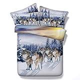 Schnee Wölfe 150x200cm Tier Bettbezug Set Mit Reißverschluss, Mann Junge Cool Wolf Bettwäsche Set, Tröster Bettbezug Mit Passendem Kissenbezug 100% Mikrofaser Polyester (Schnee Wölfe, 150x200cm)