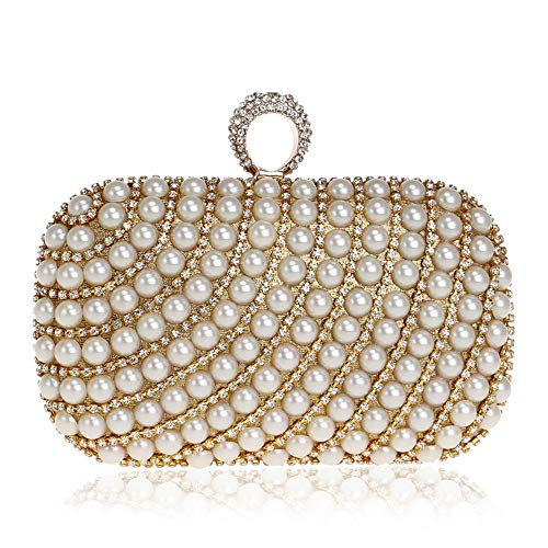 BHJF-WYB Bankettbeutel- Perlen Kosmetiktasche Damen Kleiderbankett Hand, Die Abend Tasche Hält (Farbe : Gold, größe : 16x9.5x5cm) - Hand Perlen Abend Handtasche