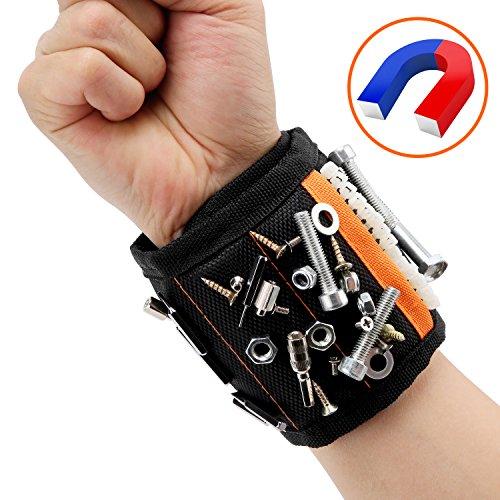 Magnetische Armbänder, Magnetarmband mit 15 Starken Magneten für Holding Schrauben, Nägel, Dübel, Bohrungen und Kleine Metallwerkzeuge,mit 2 Nägel/Schrauben Taschen - TimberRain