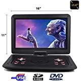 """15.6"""" Portable DVD Player CD Player (Black) With HD 1366x768 Digital TFT 270 Swivel Screen Built-In Rechargeable Battery"""