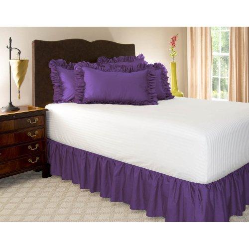 Shop Bedding Zerzauster Bed Rock (Queen, Grape) 18-Zoll-Bett-Rock mit Plattform, Falten und Fade Resistant - von Harmony Lane (erhältlich in Allen Gästen Größen und 16 Farben) (Weiße Queen-bett-plattform)