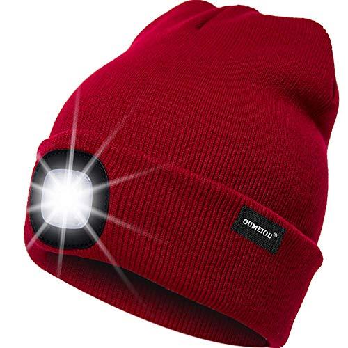 OMOUP 4 LED Stirnlampe Beanie Mütze, Winter warme Beanie Hut Hände frei beleuchtete Beanie Mütze mit (Rot) Rote Mütze
