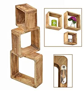 Ts ideen set 3 mensole in legno massiccio stile retr for Mensole legno naturale