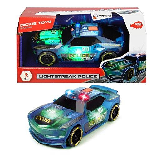 Preisvergleich Produktbild Dickie Toys 203763001 - Lightstreak Police, Rennauto mit Friktionsantrieb, mit Licht- und Soundfunktion, Polizeiwagen, 20cm