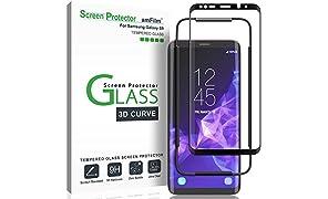 Galaxy S9 Screen Protector Glass, amFilm Full Cover (3D Curved) Tempered Glass Screen Protector with Dot Matrix for Samsung Galaxy S9 (1 Pack, Black)