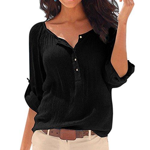 SUNNOW Damen New Mode Langarmshirts V-Ausschnitt Einfarbig Bluse Locker Basic Casual T-Shirt Oberteil (S, Schwarz)