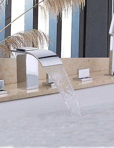 KISSRAIN® Doccia rubinetto / vasca da bagno rubinetto - Contemporanea - Handshower Incluso / Cascata - Ottone (Chrome)