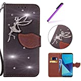 EMAXELERS HTC Desire 626 Hülle Schale Slim Fit Soft Silikon Glitzer Bling Diamante Mädchen Leaf PU Leder Tasche Wallet Case Karteneinschub für HTC Desire 626,Diamonds Leaf with Angle:Black