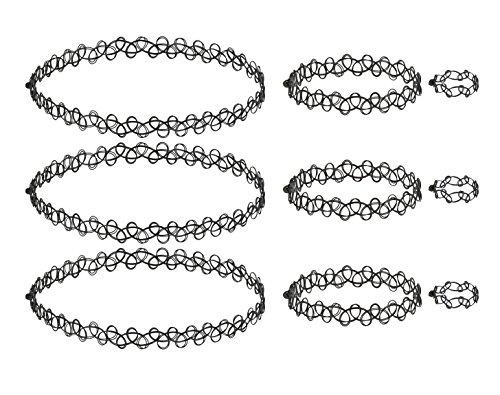 Tattoo Choker Kette Set - Elastische Dehnen Halskette + Armband + Ring, Tattoo Choker Mädchen, Henna Vintage Tattoo Halskette, Boho 80 S 90 S -