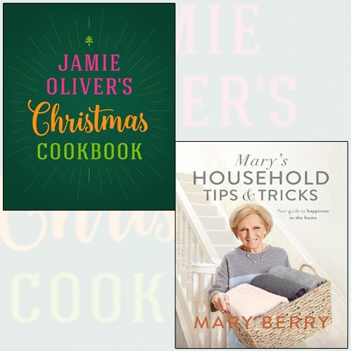 jamie oliver's christmas cookbook,mary's household tips and tricks 2 books collection set - your guide to happiness in the home